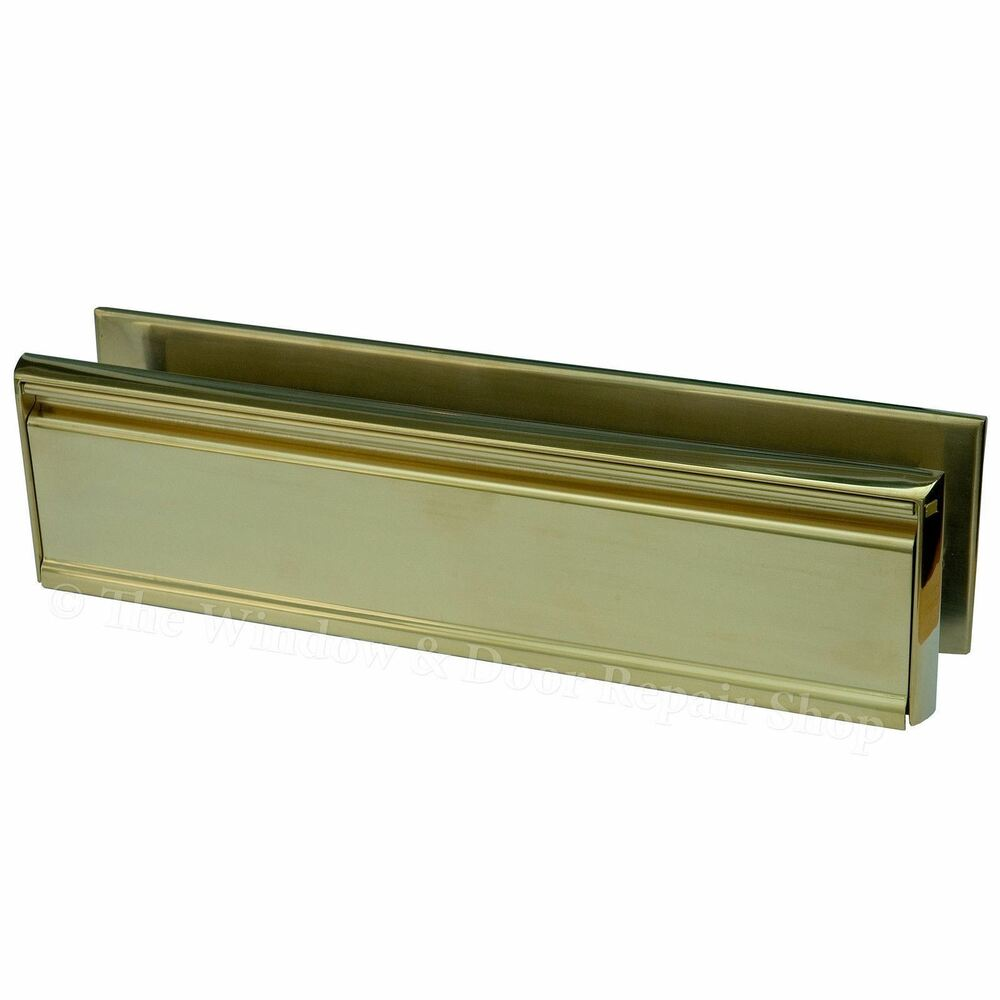 12 inch letter box plate pvd gold 40 80 upvc double for Upvc french doors with letterbox