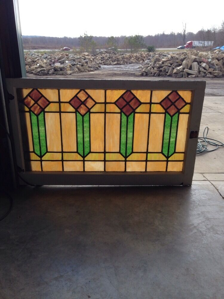 Sg 56 arts and crafts men style antique stained glass for Arts and crafts glass
