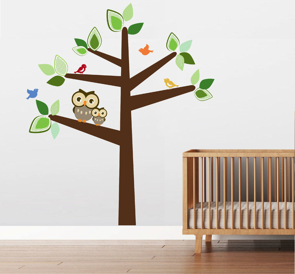 6 ft large tree with 2 owls and birds wall decal sticker for Bird and owl tree wall mural set
