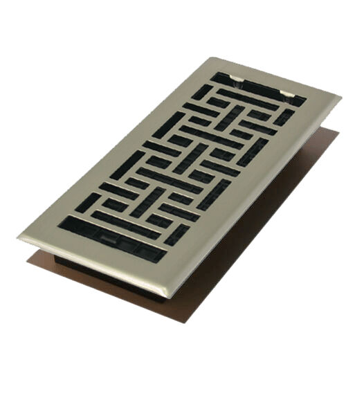 Satin nickel 4 x 10 contemporary floor register cover for 10 x 10 floor register