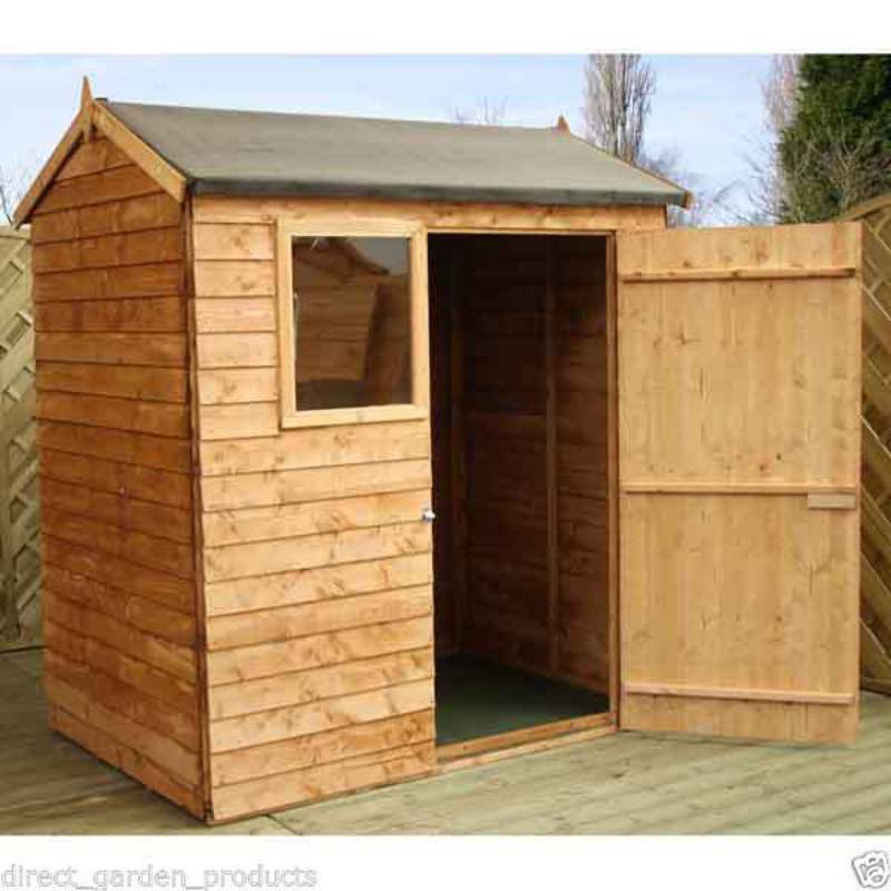 6x4 garden shed single door reverse apex wooden sheds for Garden shed tab