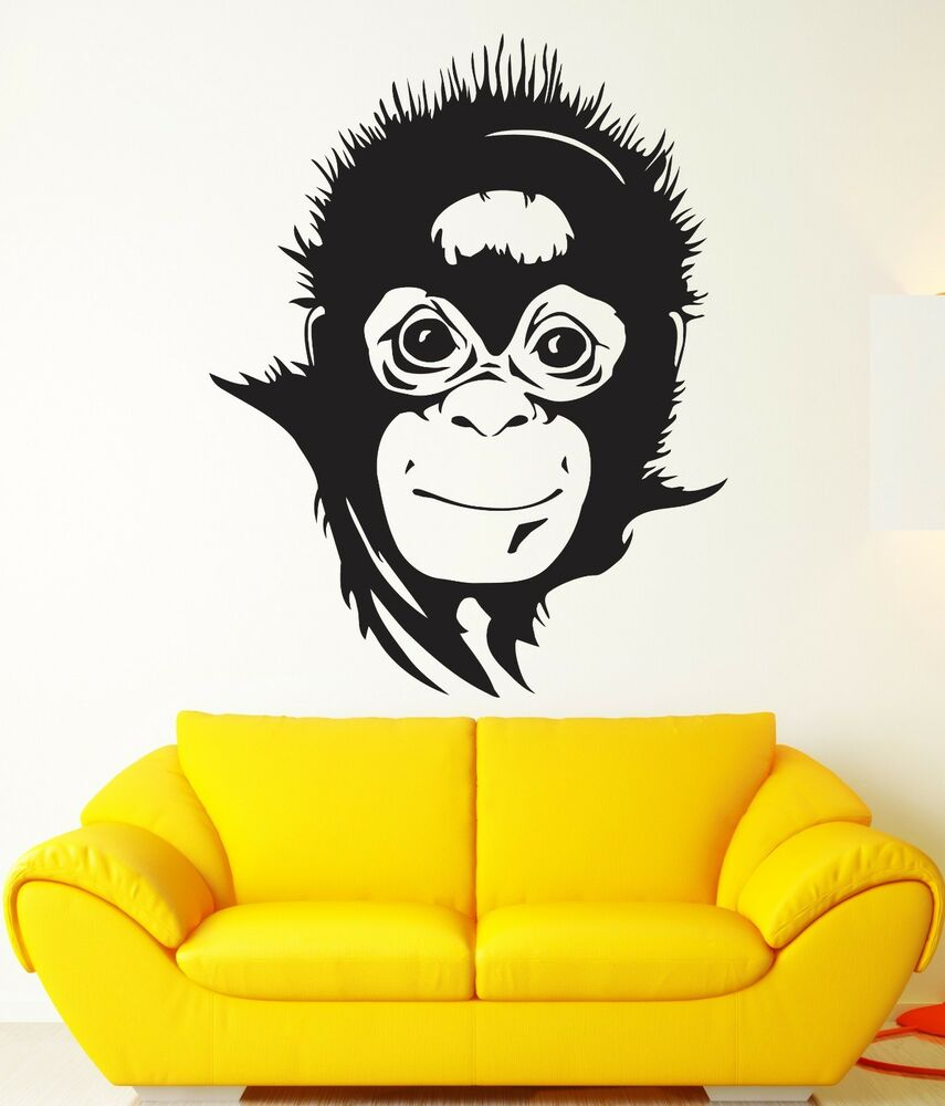 Monkey Wall Stickers Nursery Animals Baby Room Vinyl Decal (ig911 ...