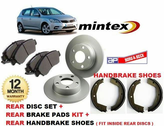 for kia ceed 10 2006 2012 rear brake discs disc pads hand brake shoes kit ebay. Black Bedroom Furniture Sets. Home Design Ideas