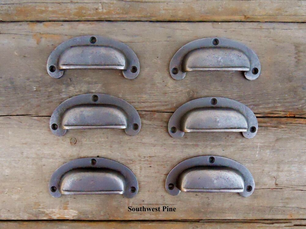 Set Of 6 Beautiful Vintage Style Cast Iron Cabinet Drawer Pull Iron Cup Handles Ebay