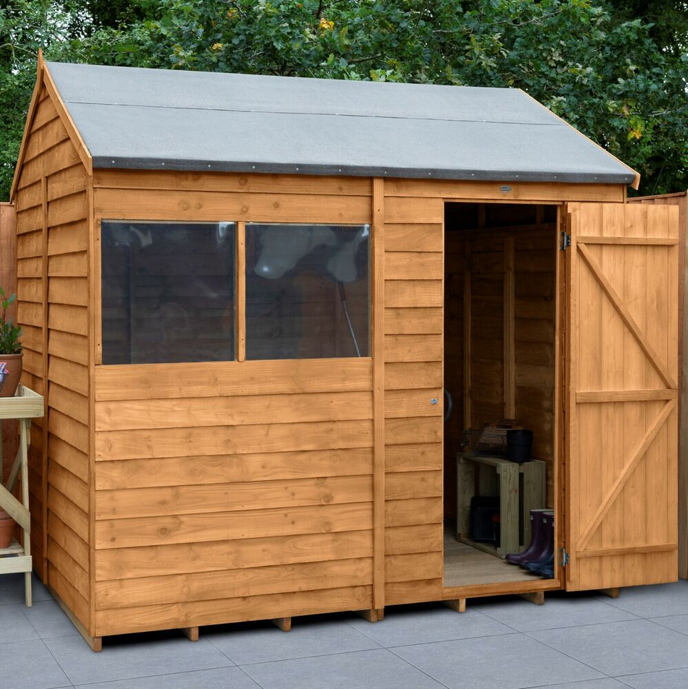 8x6 wooden garden shed single door apex sheds overlap clad