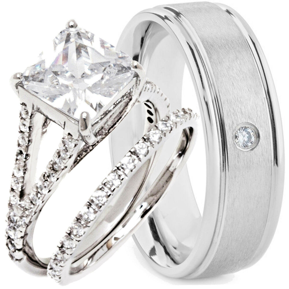 wedding ring sets his and hers 3 pcs his and hers wedding rings engagement cz 925 9996