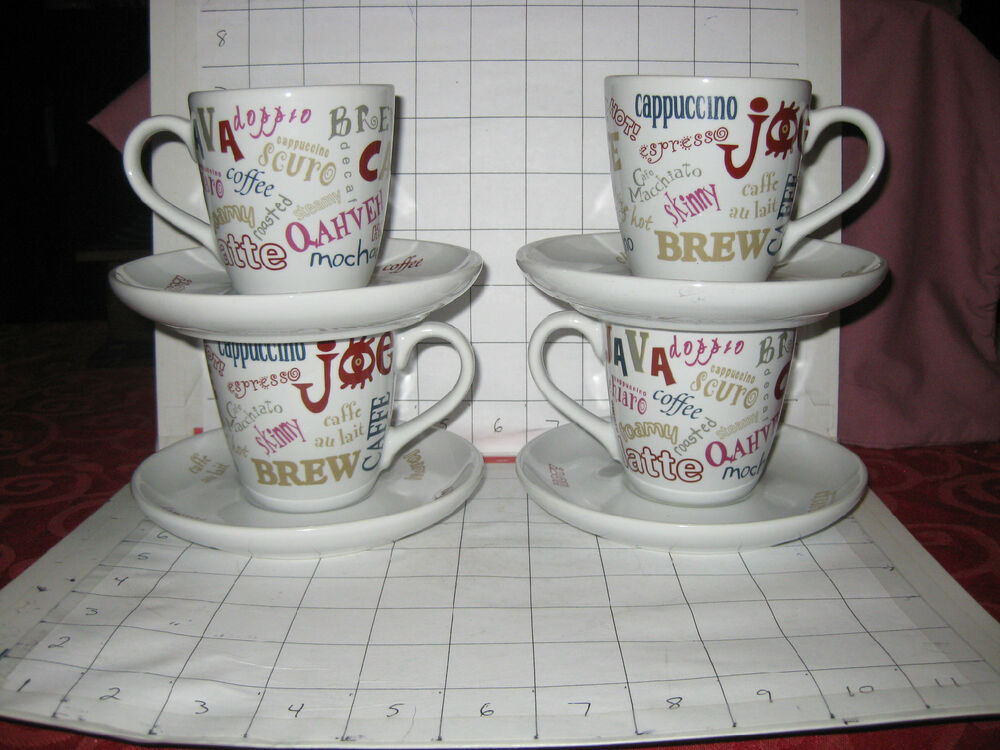 coffee mug sets 4 sets cappuccino espresso lover coffee mug cup saucers 30017