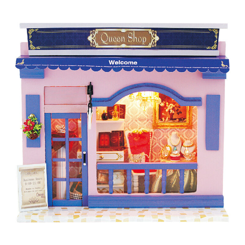 DIY Adorable DollHouse Miniature W/Light Wooden Queen Shop