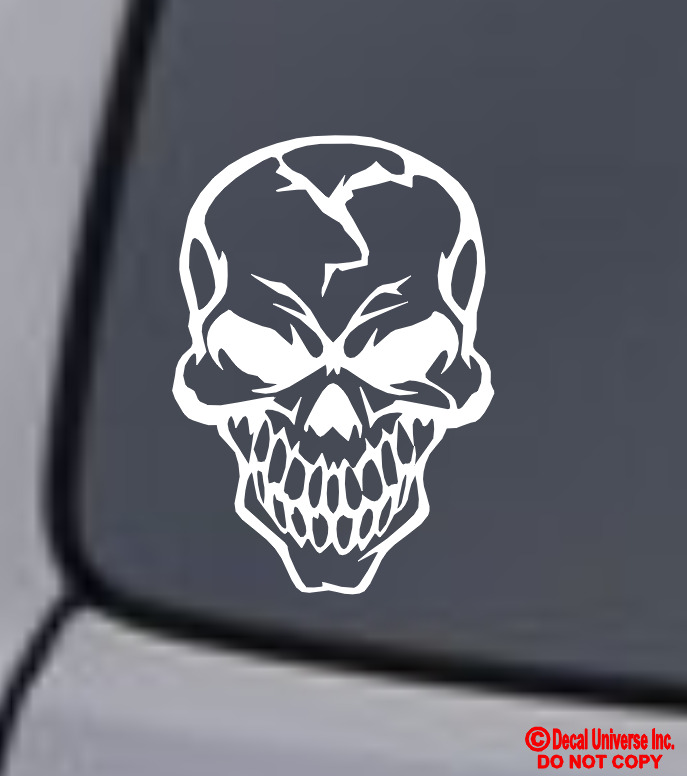 Skull cracked human head vinyl decal sticker car window for Getting stickers off glass