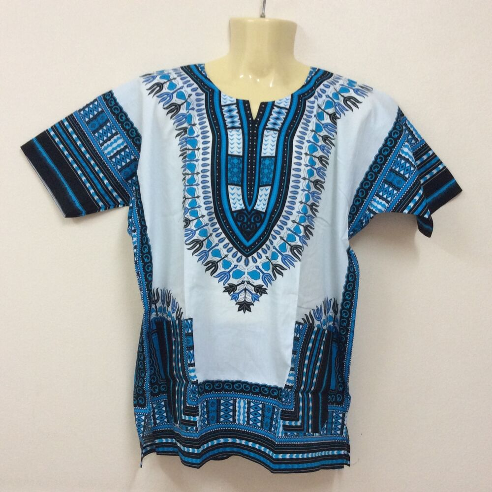 White Unisex African Dashiki Shirt caftan Hippie Men Women ...