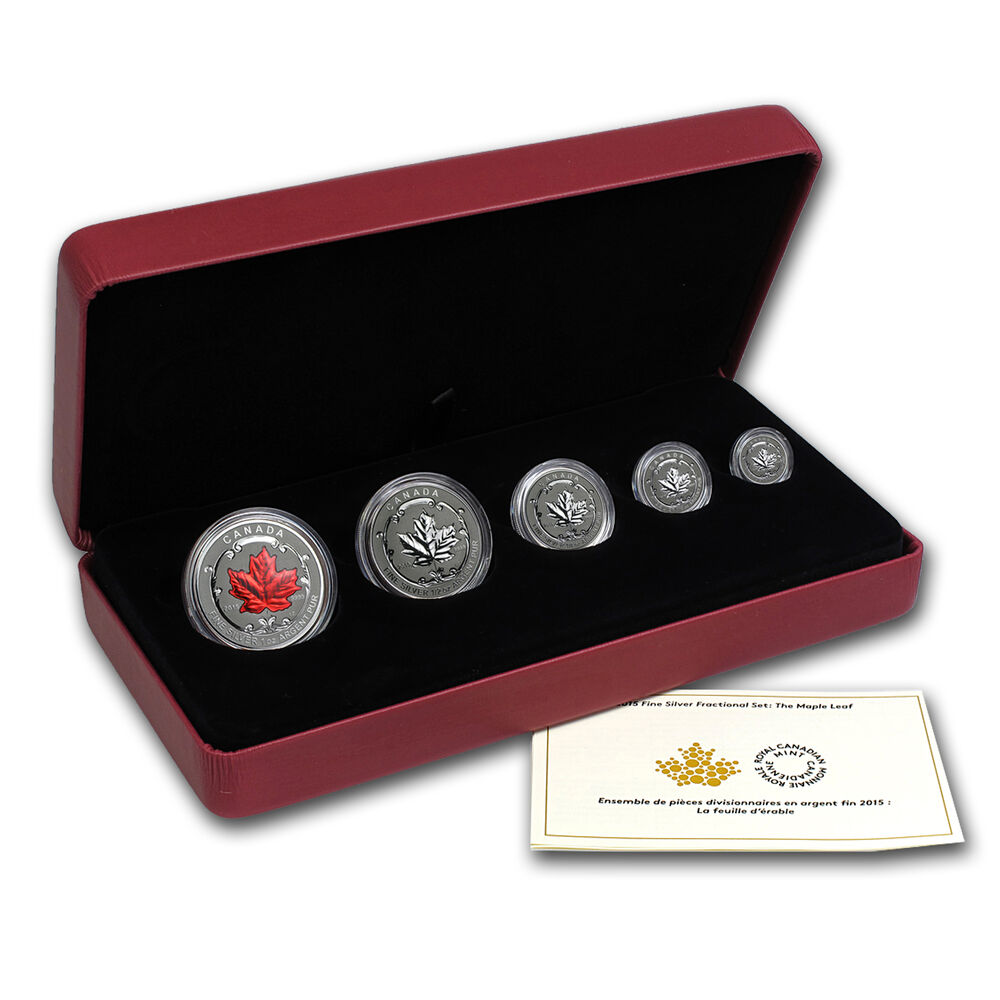 2015 5 Coin Reverse Proof Silver Canadian Maple Leaf Set