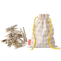 Ferm Living Harlequin Birch Wooden Clothes Pins with Rose Storage Bag - 20ct