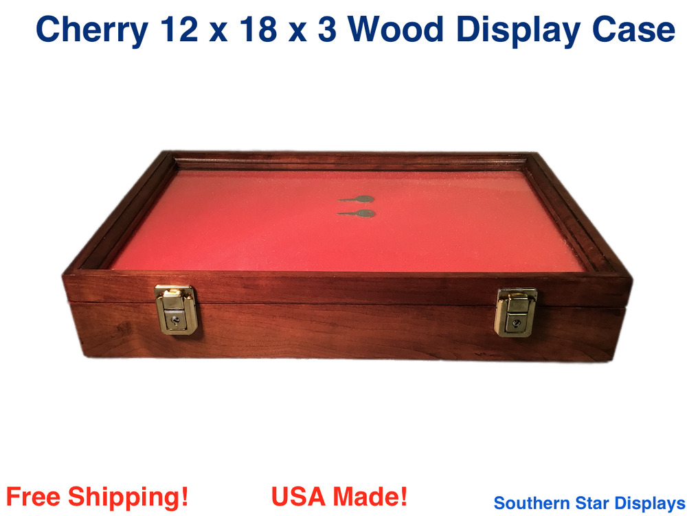 cherry wood display case 12 x 18 x 3 for arrowheads knifes collectibles more ebay. Black Bedroom Furniture Sets. Home Design Ideas