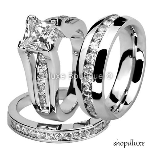 His hers 3 piece men s women s stainless steel wedding engagement ring