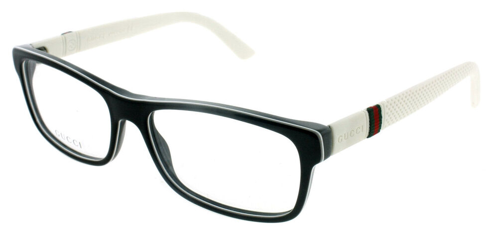 *NEW AUTHENTIC* GUCCI 1066 04UQ BLACK WHITE EYEGLASS FRAME ...