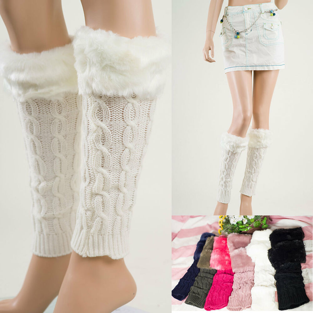 Women's Fur Leg Warmers Crochet Winter warm legging Boot ...