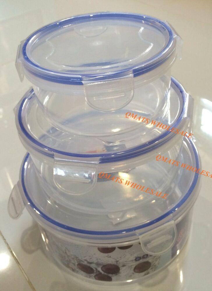 3pc Airtight Plastic Lock Biscuit Cookie Storage Container