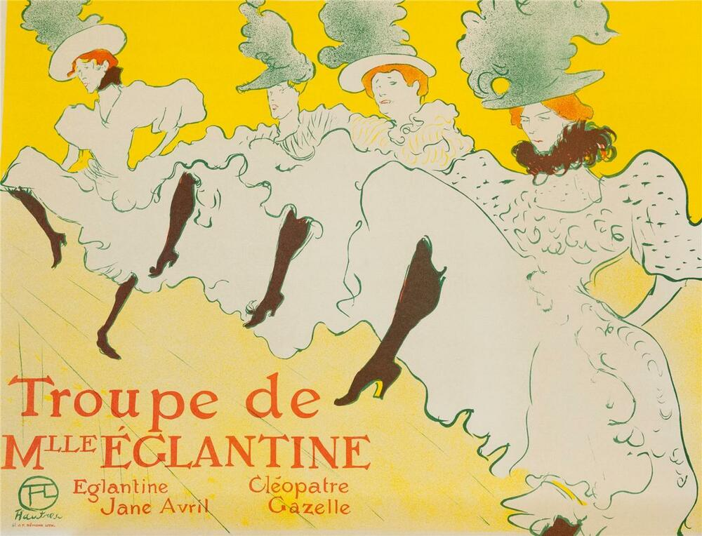 toulouse lautrec troupe de mlle eglantine poster fine art lithograph coa s2 art ebay. Black Bedroom Furniture Sets. Home Design Ideas