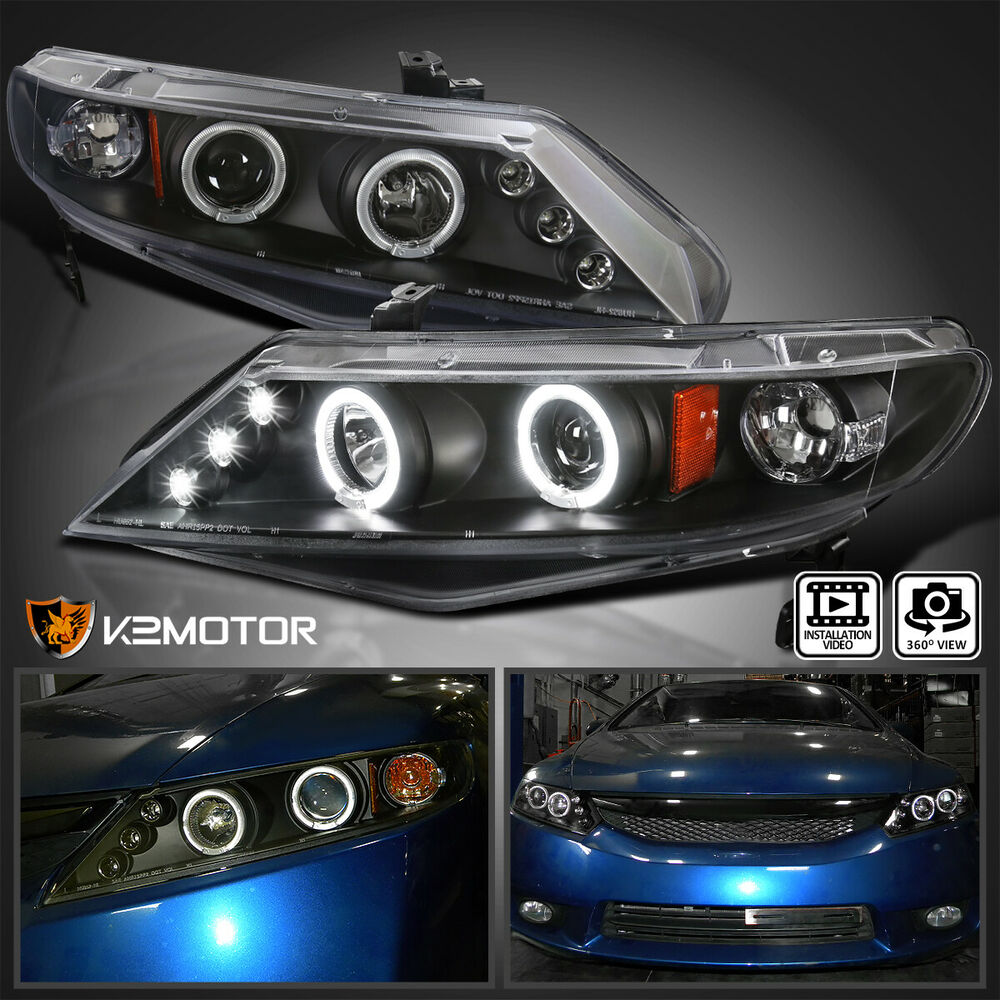 for 2006 2011 honda civic 4 door sedan led halo projector. Black Bedroom Furniture Sets. Home Design Ideas