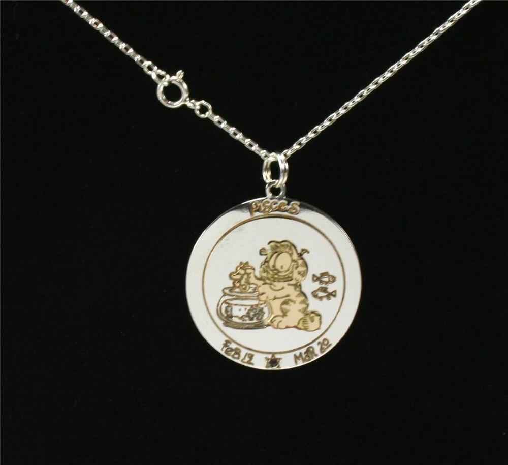 garfield pisces zodiac sterling silver gld overlay