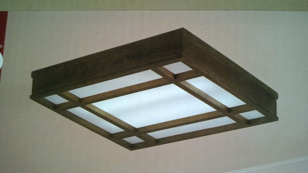 nib nice wood frame 24 4 lite fluorescent ceiling light dark espresso. Black Bedroom Furniture Sets. Home Design Ideas