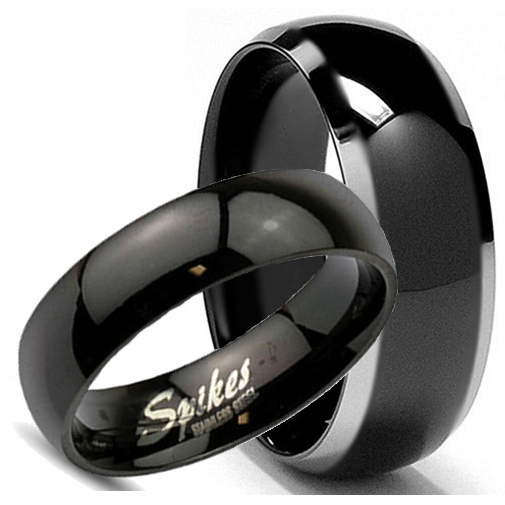 Womens Black Wedding Bands: His Hers Mens BLACK TITANIUM & Womens Stainless Steel