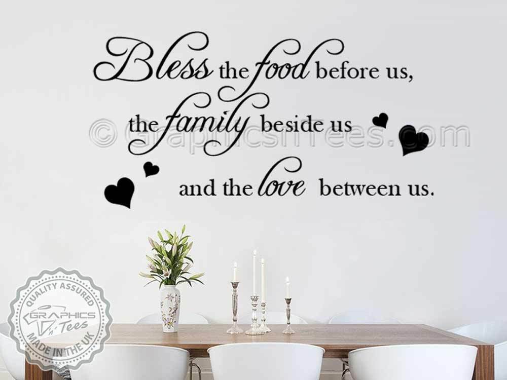 Family wall sticker inspirational quote bless the food for Dining room decals