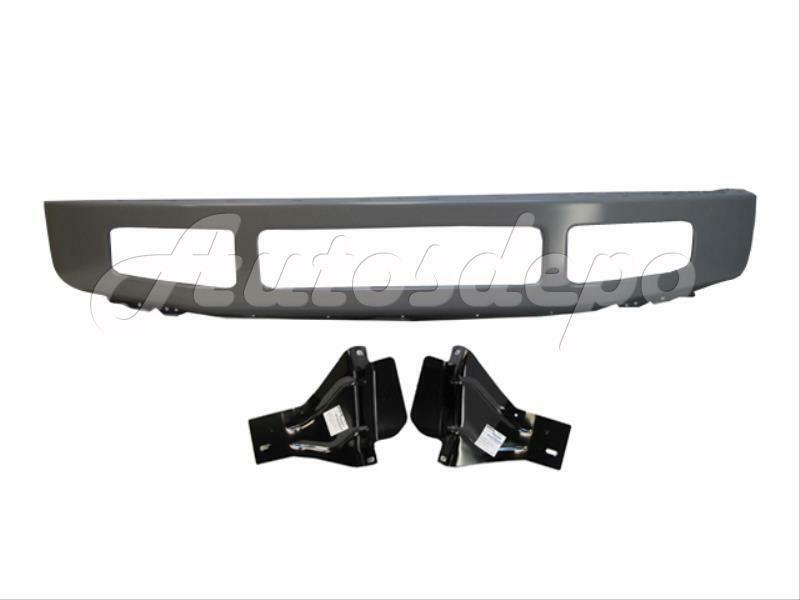 2008 2010 super duty f250 f350 front bumper face bar silver mounting brackets ebay. Black Bedroom Furniture Sets. Home Design Ideas