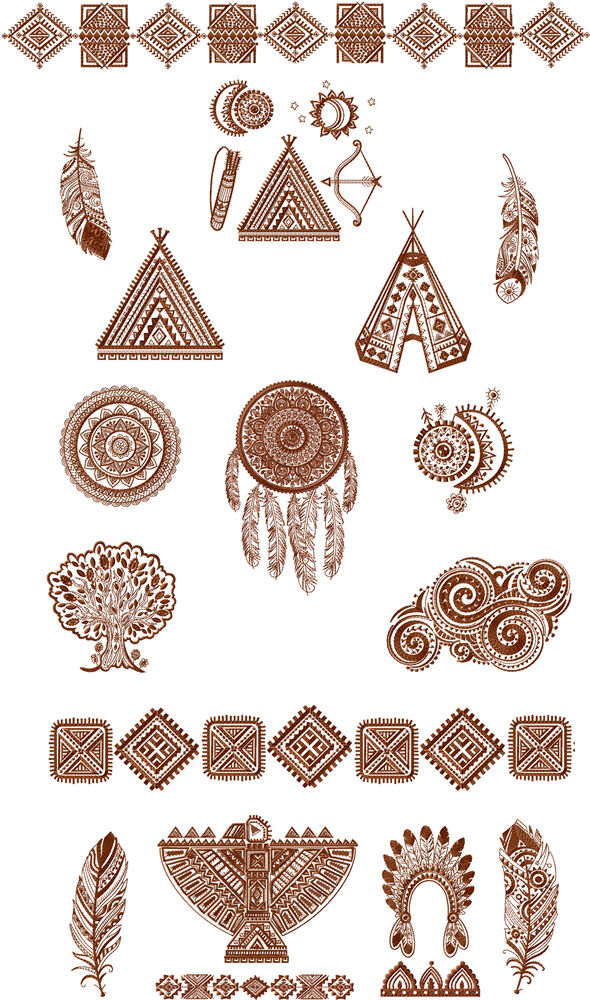 Abc Designs 20 Tribal Symbols Machine Embroidery Designs Set 5x7