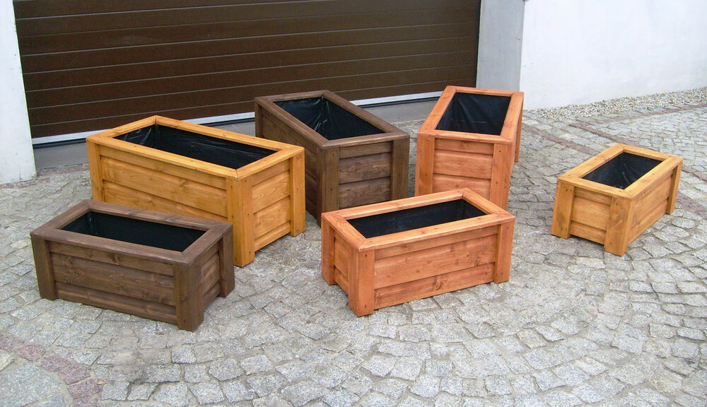 blumenkasten blumentopf pflanzkasten pflanzk bel aus holz rechteckig top ebay. Black Bedroom Furniture Sets. Home Design Ideas
