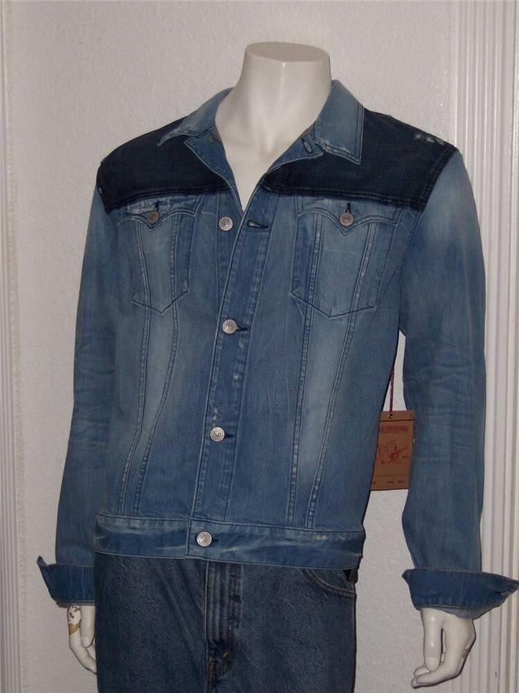 new men 39 s true religion jimmy trucker denim jean jacket size xxl vintage blue ebay. Black Bedroom Furniture Sets. Home Design Ideas