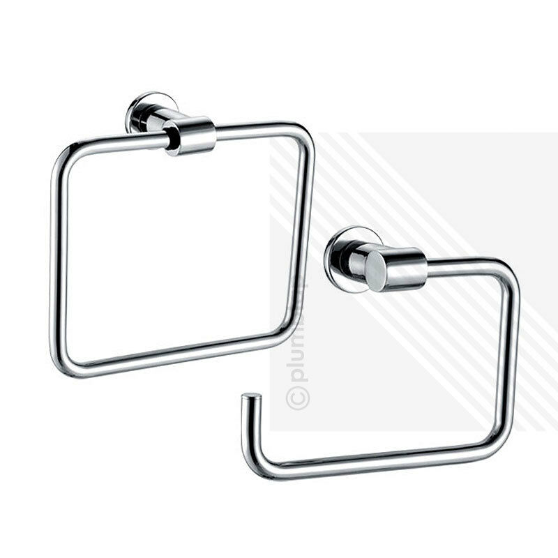 Wall mounted square towel ring toilet roll holder chrome bathroom accessory ebay Traditional bathroom accessories chrome