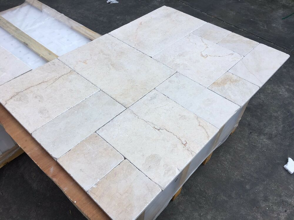 Crema marfil opus pattern tumbled marble tiles floor and for Cover tile floor