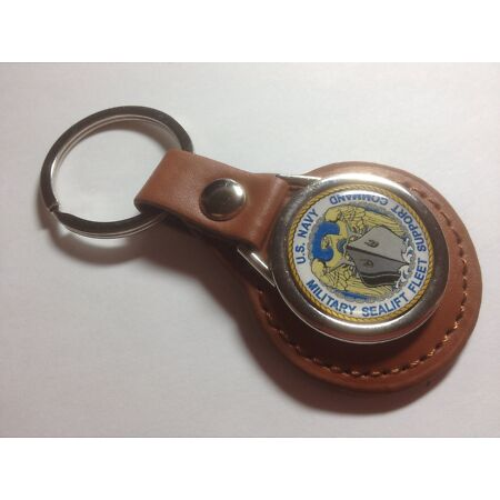 img-U.S. Navy 'Military Sealift Command' ,Leather Key Ring