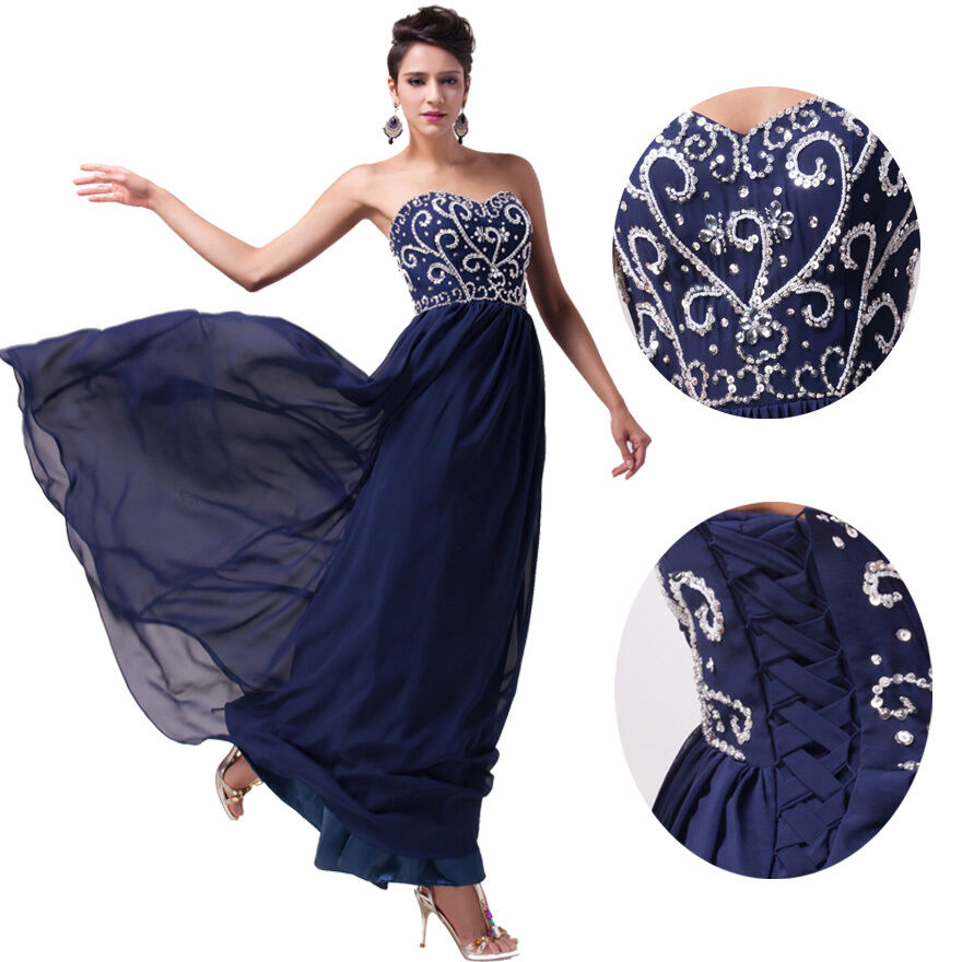 Women long chiffon formal evening party ball gown prom for Formal long dresses for weddings