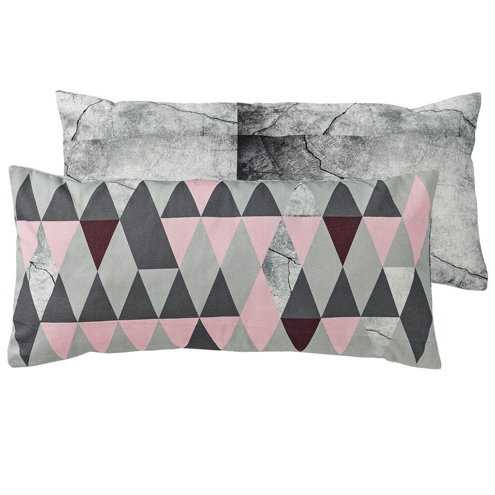 bloomingville kissen rosa grau geometrisch 30x60cm ebay. Black Bedroom Furniture Sets. Home Design Ideas