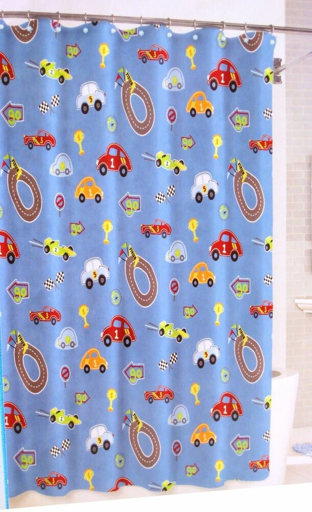 New Bambini by Kassatex Race Track Cars Boys Blue Fabric Shower ...