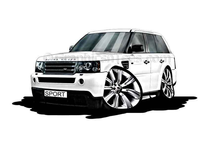 Range rover sport white caricature car cartoon a4 print personalised gift ebay - Caricature voiture ...
