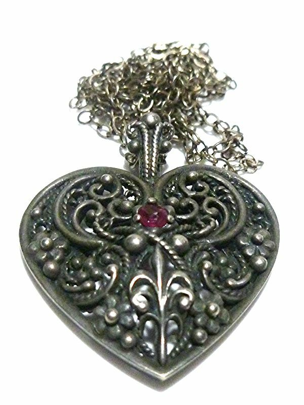 Rare Style Franklin Mint Gothic Ornate Sterling Silver Womens Heart Necklace Ebay