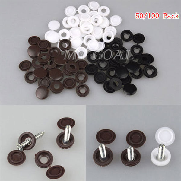 50 100pcs hinged plastic screw cover fold snap caps for. Black Bedroom Furniture Sets. Home Design Ideas