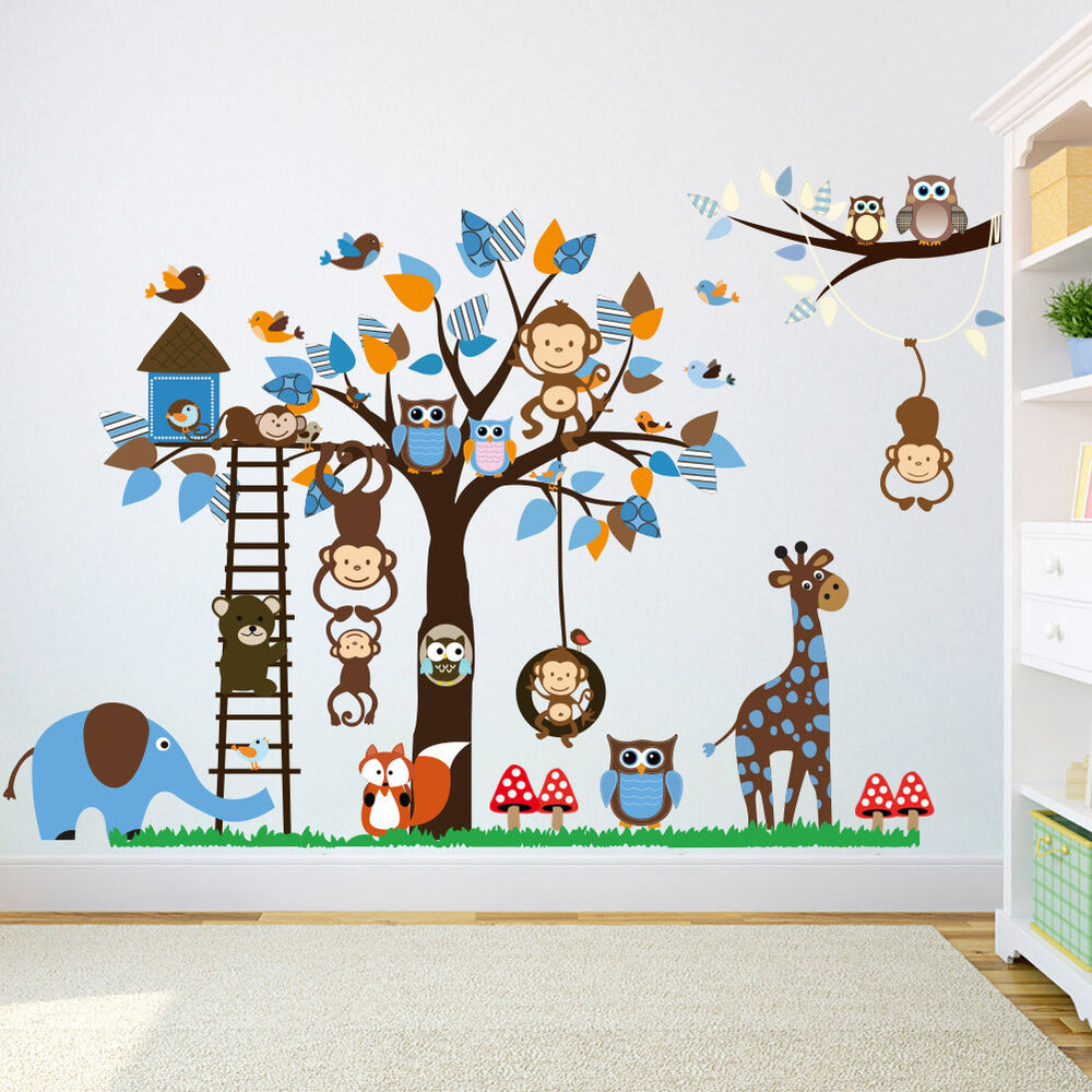 wandtattoo wandaufkleber kinderzimmer tiere wandsticker affe elefant premium xxl ebay. Black Bedroom Furniture Sets. Home Design Ideas