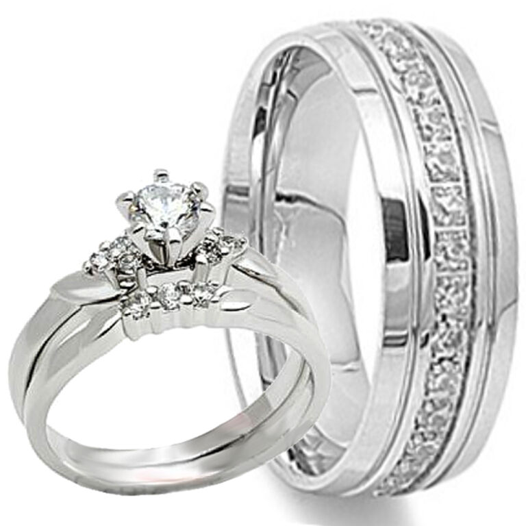 His hers 3 pc engagement wedding bridal womens rings set for 3pc wedding ring set