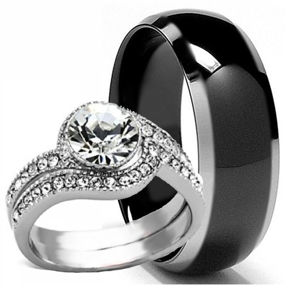 black titanium mens band and 2 pc womens engagement wedding cz ring