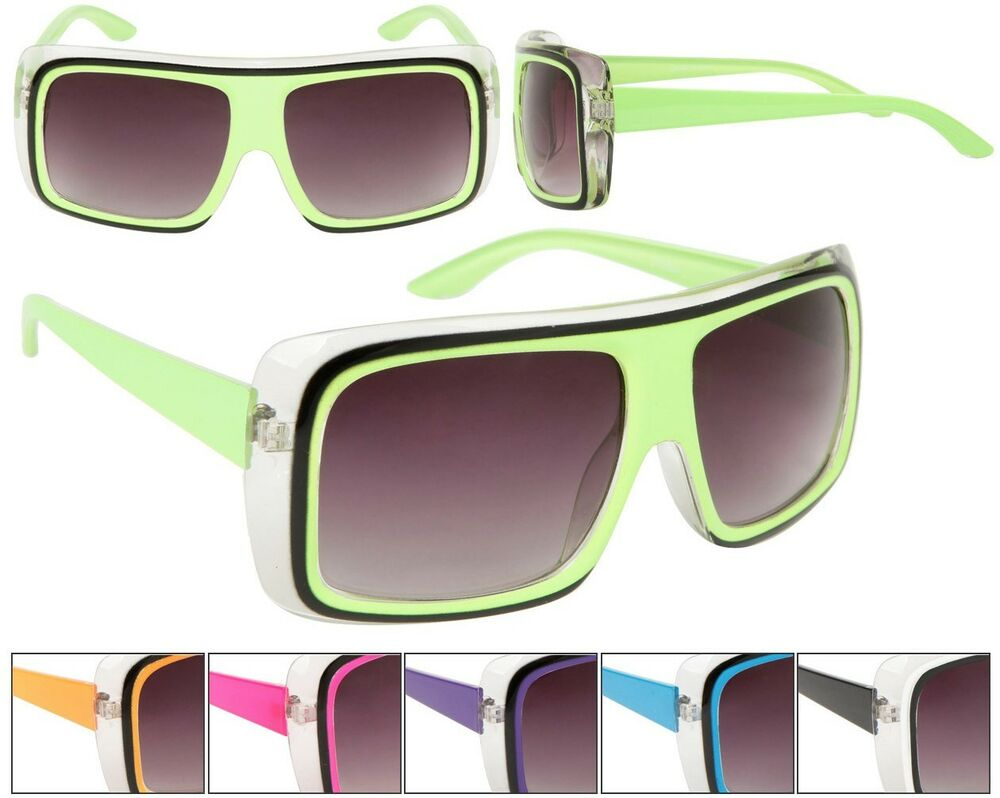 Unisex Large Lens Square NEON Frame Bright Colored ...