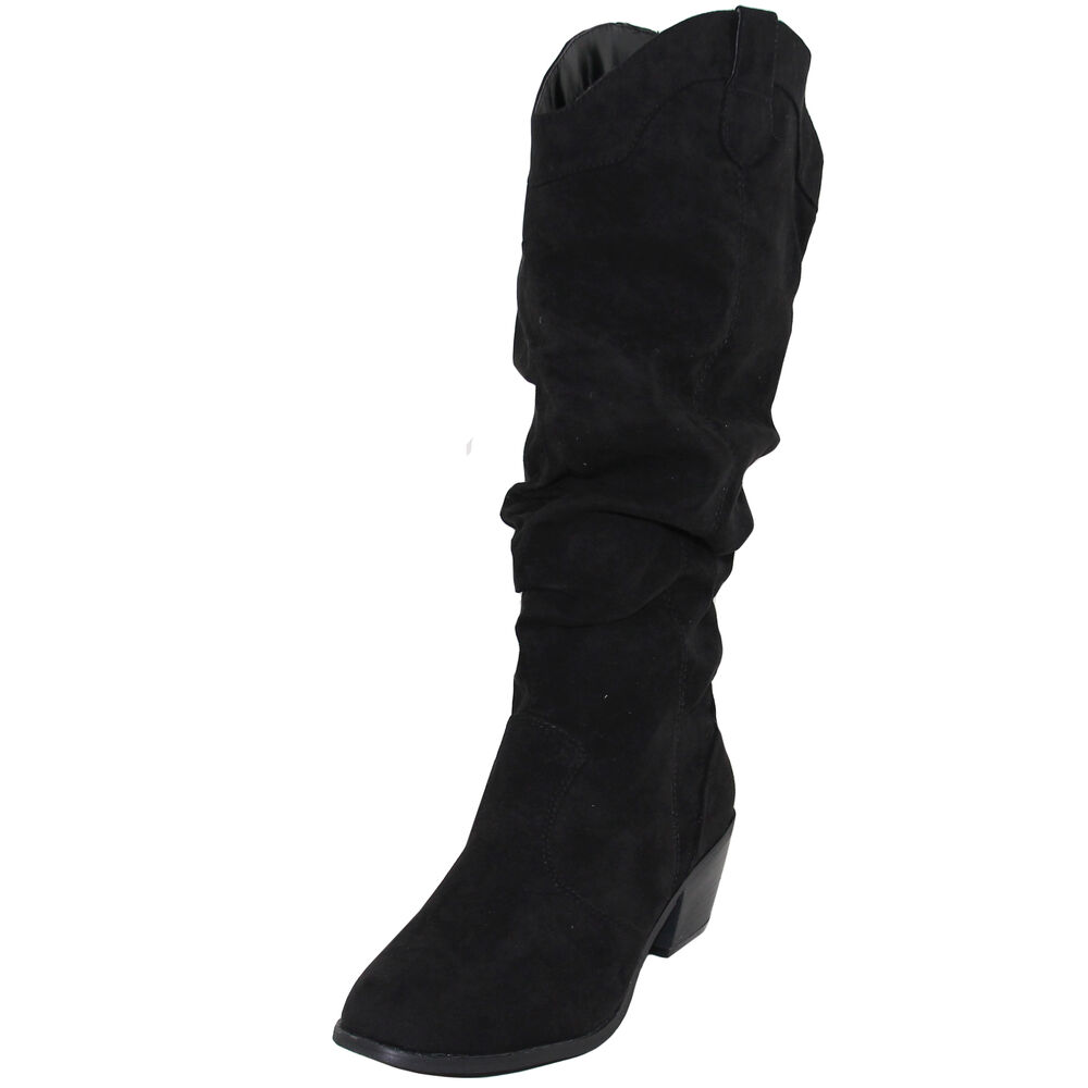 New Women S Shoes Boots Knee High Suede Like Cowboy