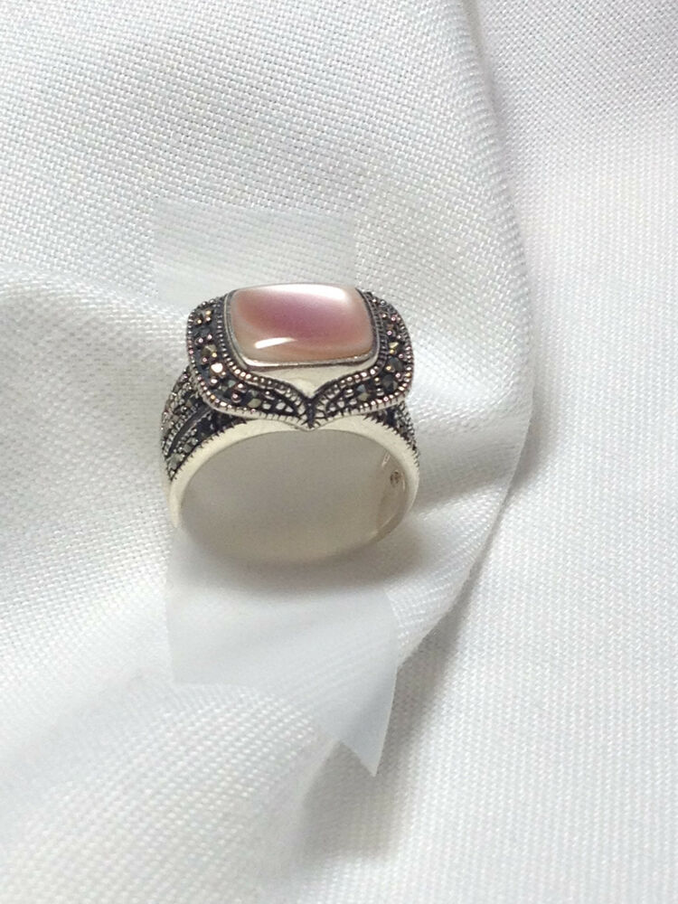 Pink Moonstone Marcasite Ring Art Deco Ring Cocktail Ring ...