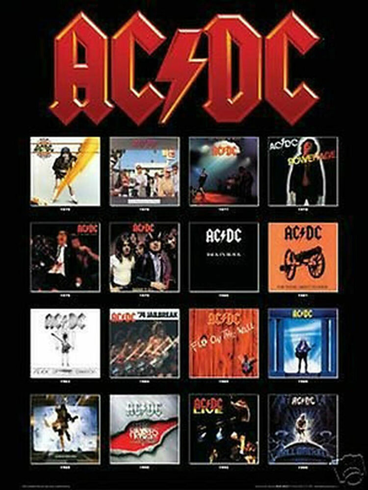 ac dc album covers poster 24x36 shrink wrapped music 3231 ebay. Black Bedroom Furniture Sets. Home Design Ideas