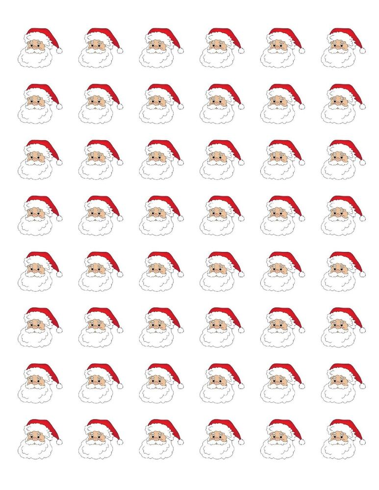 "48 SANTA CLAUS CHRISTMAS ENVELOPE SEALS LABELS STICKERS 1.2"" ROUND ..."