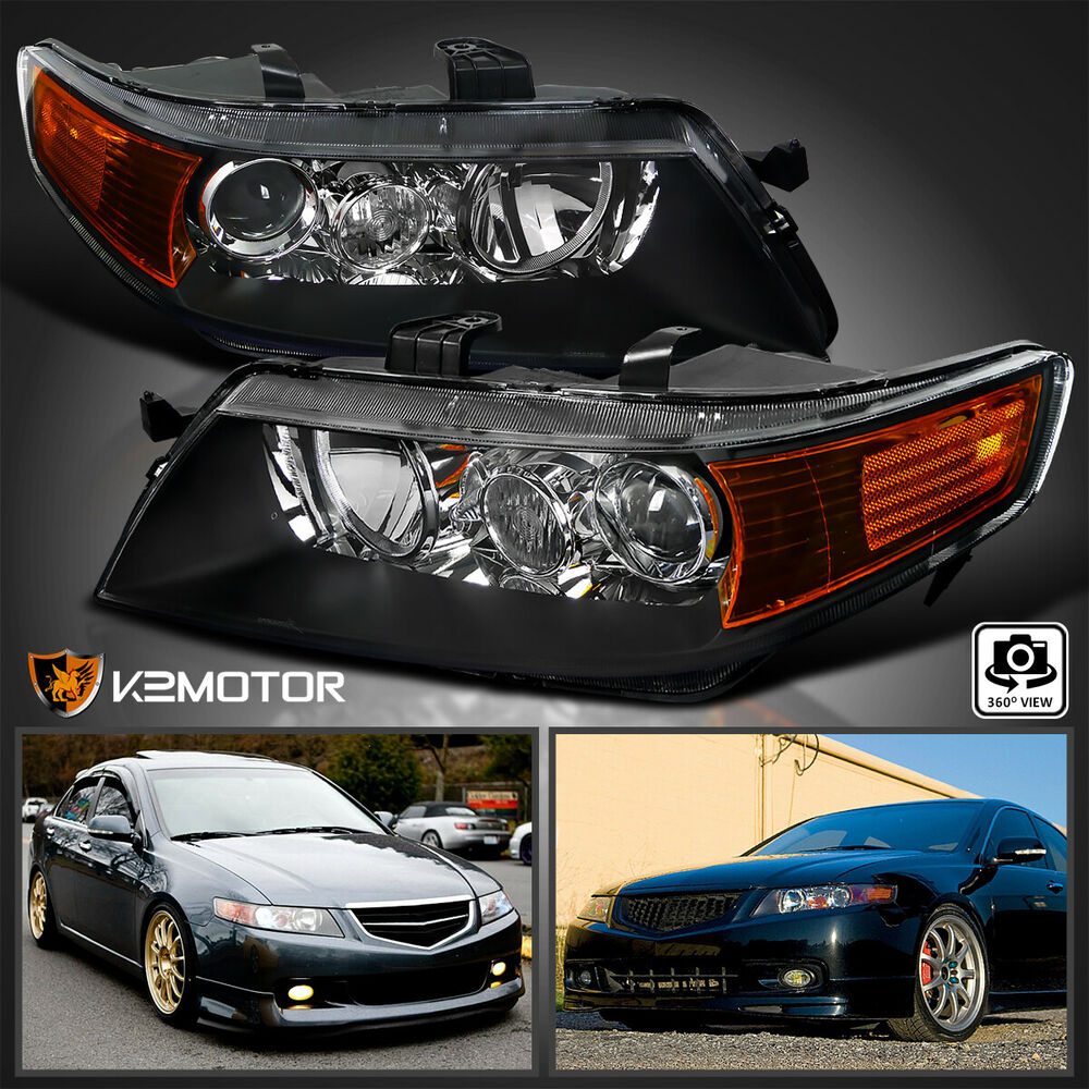 04-05 Acura TSX Projector Headlights Black Housing Clear