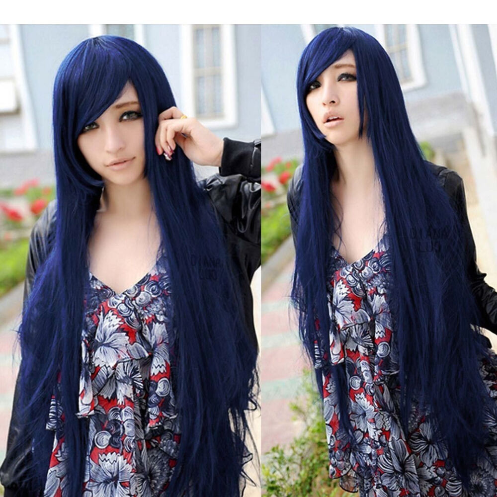Dark Blue Sexy Lady Long Hair Straight Full Wigs Anime Cosplay Costume Party Wig  eBay